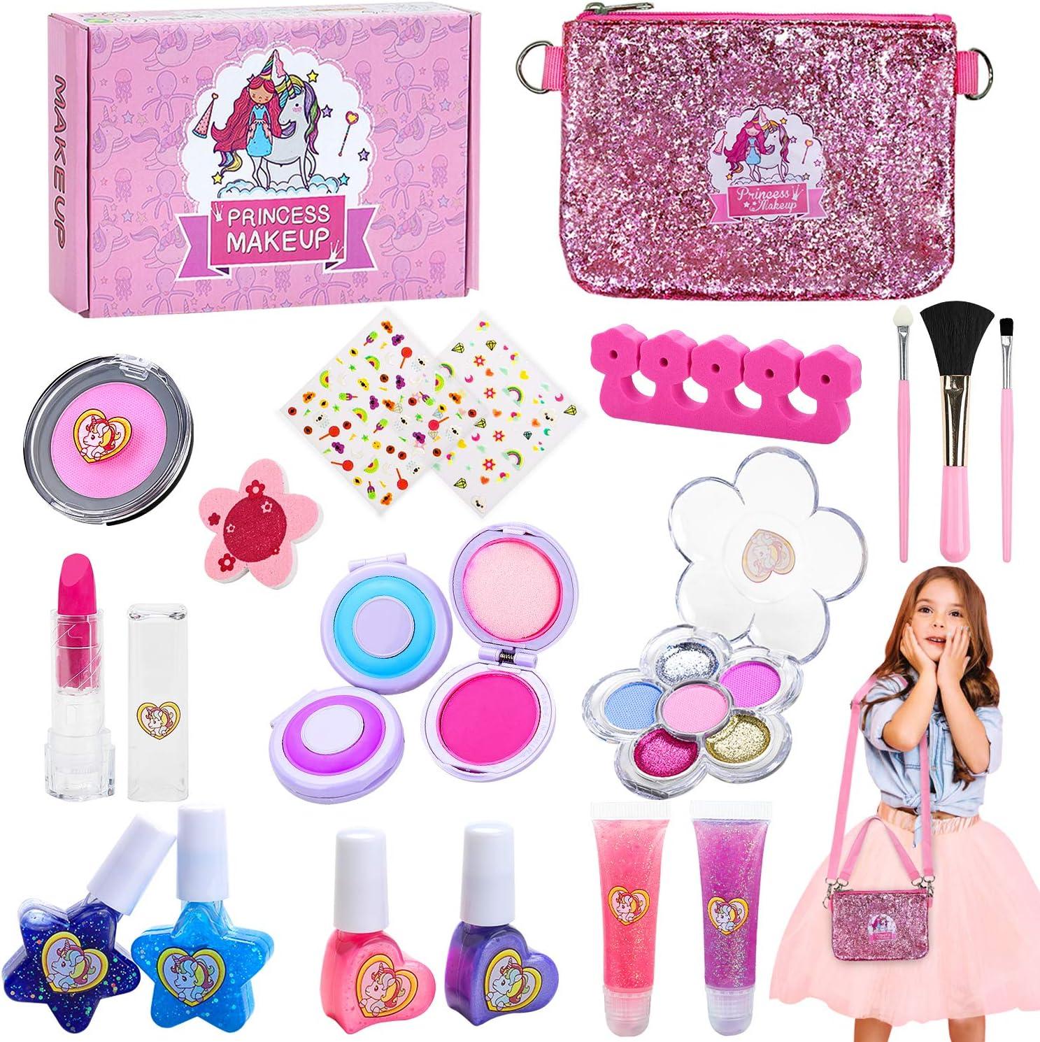 Jojoin Maquillaje Niñas Set, Maquillaje Infantil, Juguete de Maquillaje con Pinzas para El Cabello, Regalo de Princesas para Niñas Juguete para Los Niños en Fiesta