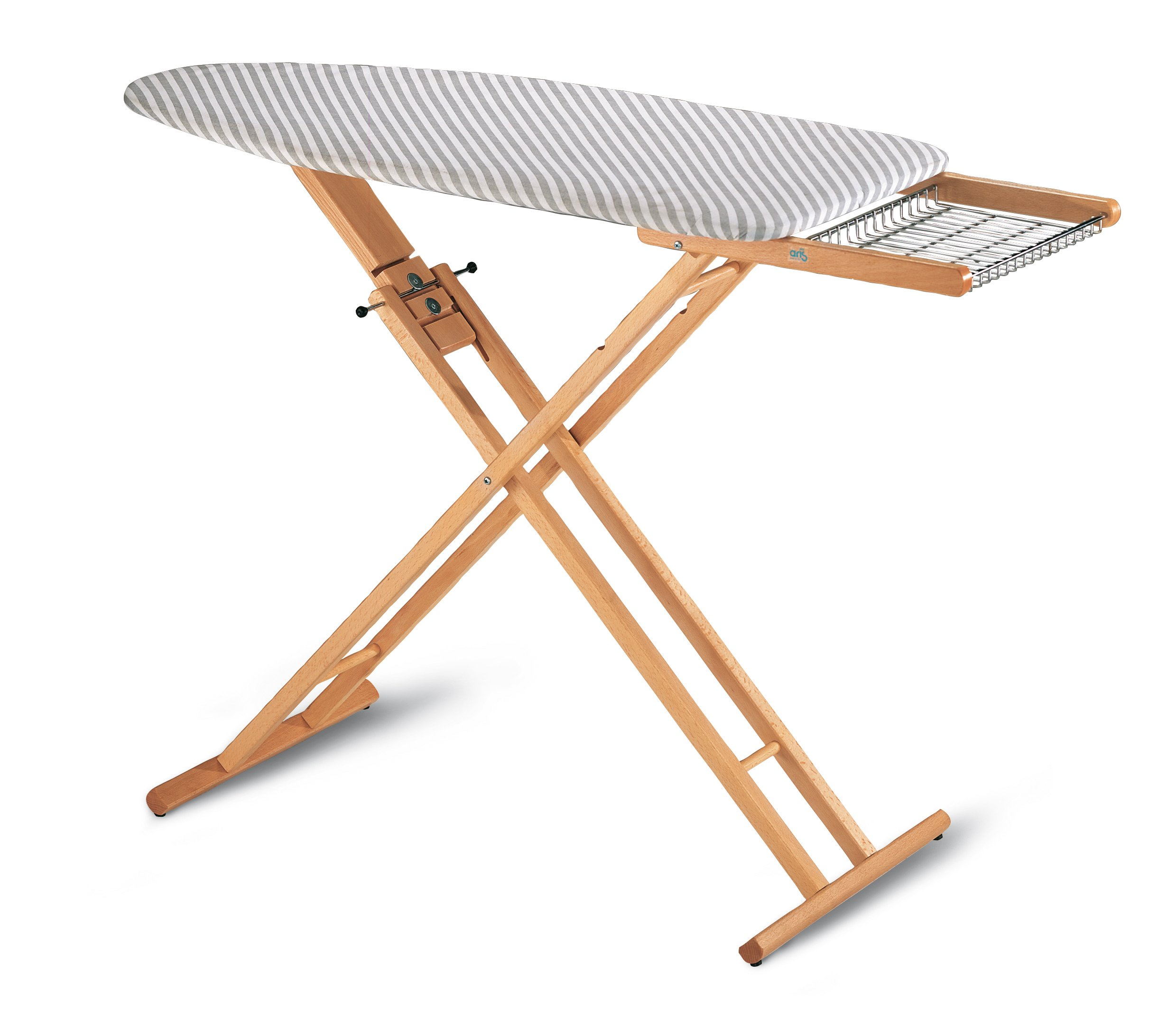 MULTISTIR - Folding and Portable Ironing Board in Solid Beech Wood - 3 Height Positions - Handcrafted in Italy - Natural Finish