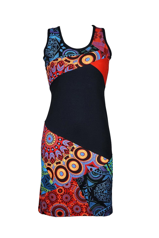 Farbenfrohes Sommer Kleid mit Patchwork Print - 100% Baumwolle - KALI
