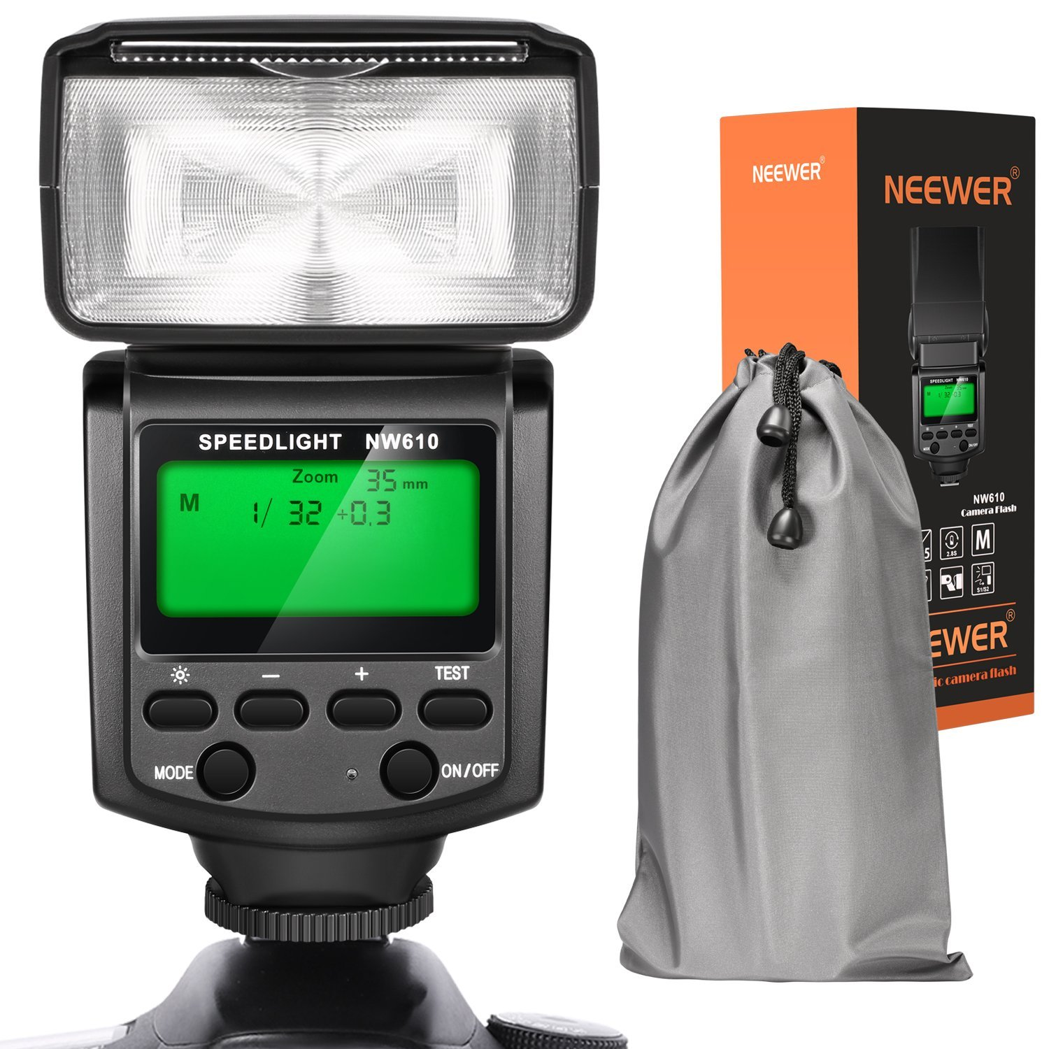 Neewer NW610 Manual Flash Speedlite With LCD Display for Canon Nikon Panasonic Olympus Pentax with Standard Hot Shoe and Sony Camera with New Mi Hot Shoe like Sony A7 A7S/A7SII A7II A6000 A6300 A6500 by Neewer