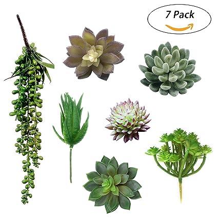 Everydlife Artificial Succulent Plants Unpotted,7 Pieces Green Fake  Succulents Bouquet Floral Assorted Arrangement Garden