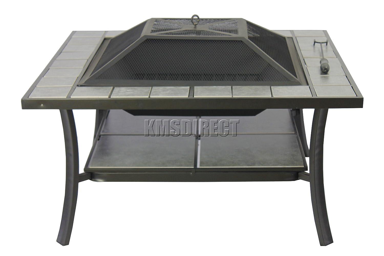 KMS FoxHunter - Plaza de la Hoguera de acero Brazier Estufa de jardín con mesa Estufa Calentador de Patio Marrón barbacoa con diseño de azulejo fp-03: ...