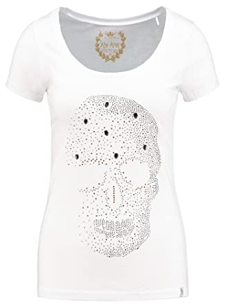b86039e9c57fff Key Largo Damen T-Shirt WT Brain Strasssteine Totenkopf Skull Front Weiß XL