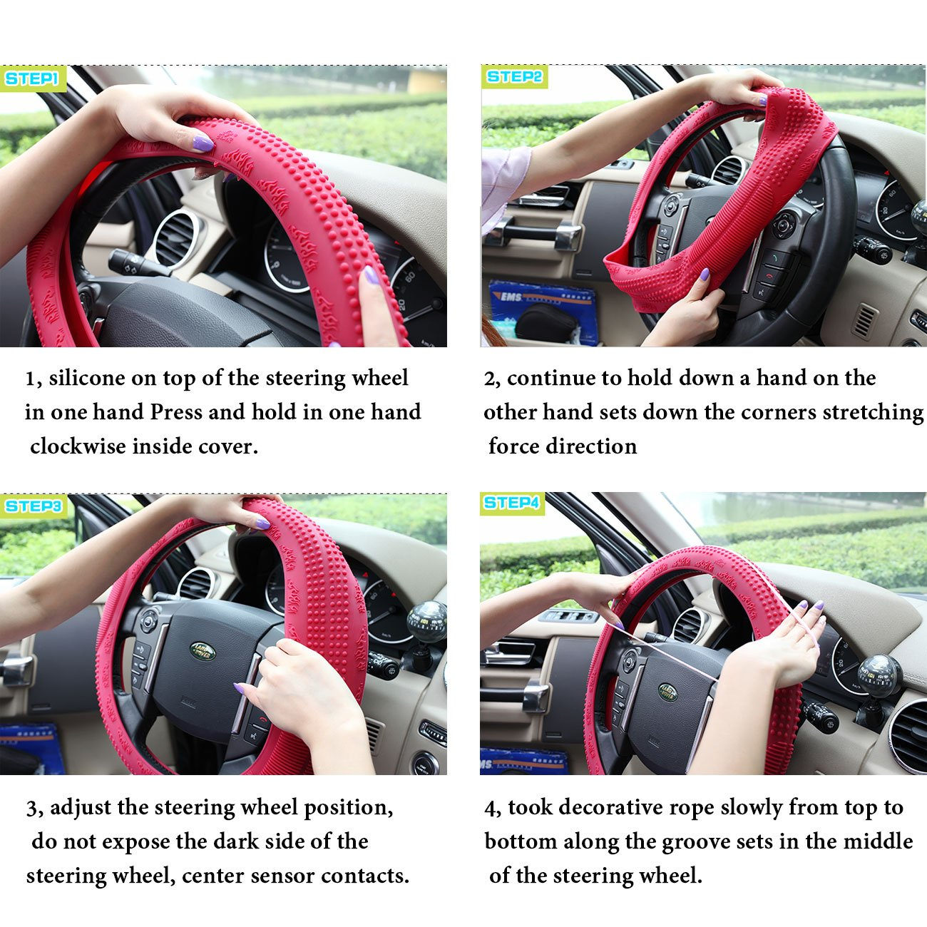 ASJ Natural Silicone Candy-colored Steering Wheel Cover Super Feel Skid Environmental Tasteless Silicone Universal Rose Red EULER