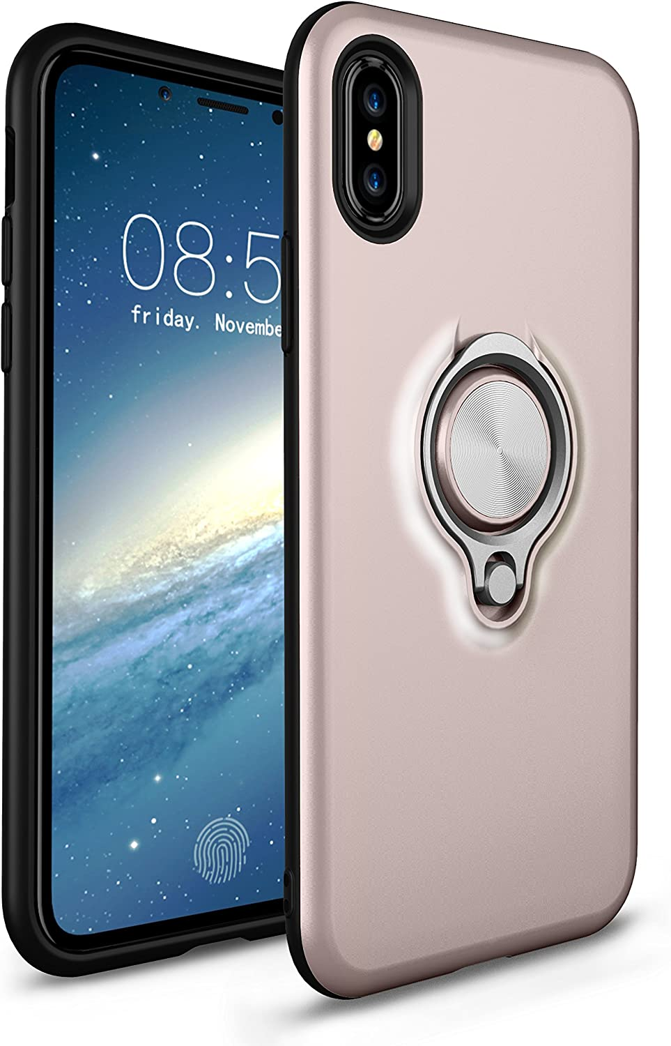 LU2000 iPhone X Case with Kickstand, iphonex Shockproof Case [Ring Holder Kickstand] Fit Magnetic Car Mount Dual Layer Bumper Anti-Scratch Back Cover for Apple iPhone X - Rose Gold