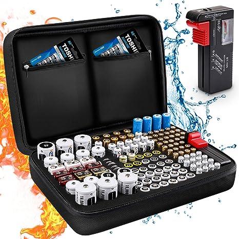 Keenstone Organizador de Batería, Caja Organizadora de Pilas Dura Con Capacidad Para 139 Pilas AA AAA C D 9V: Amazon.es: Electrónica