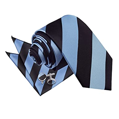 fb0eb5d4d258 DQT Premium Woven Microfibre Striped Patterned Baby Blue and Black Men's  Casual Business Slim 7cm Tie