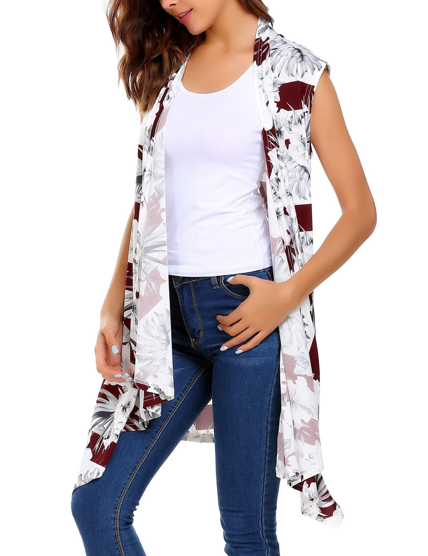 ELESOL Women' Floral Sleeveless Cardigan Wine Red Large