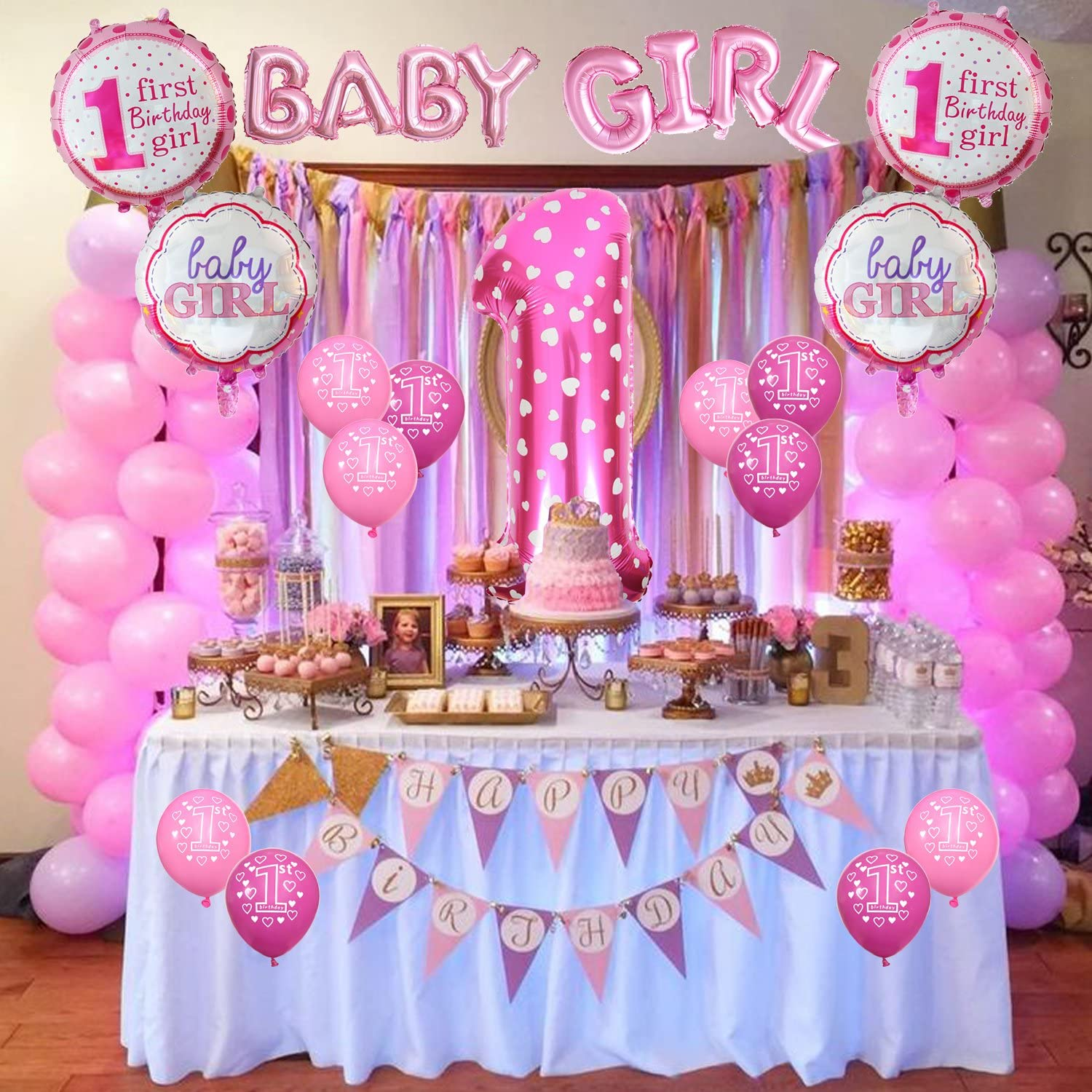 Amazon Com Cocodeko 1st Birthday Decoration Inflatable Helium Foil Balloons Baby Girls Birthday Party Air Balloons Set Supplies For Baby Shower Photo Props Pink Number First Birthday Decorations Girl Toys Games