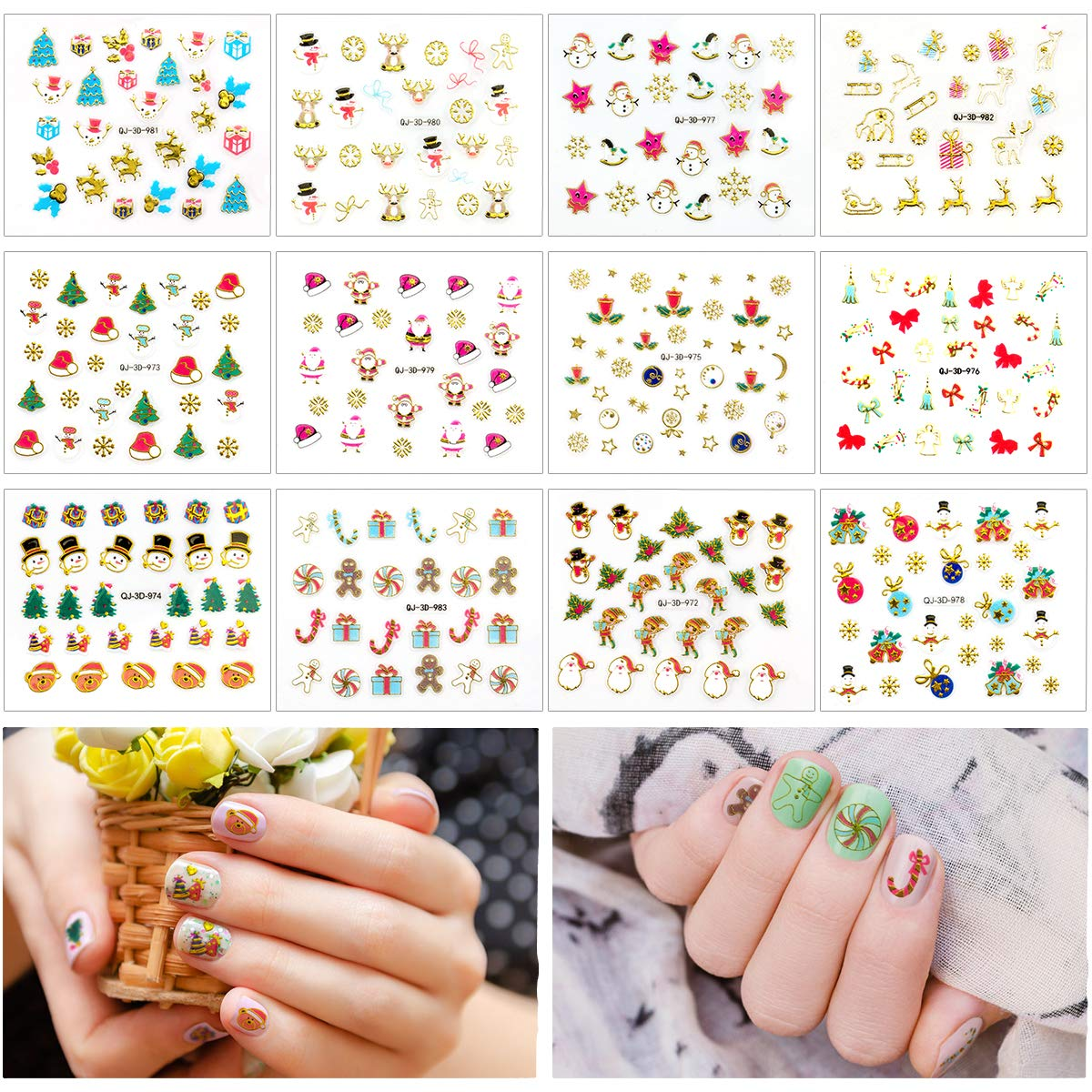 Biubee Christmas New Year Nail Tip Stickers- 3D DIY Nail Art Tattoo Decals with Santa, Snowflakes, Snowmen, Tree, Bells, Reindeers& Bulbs for Nail Art Decoration