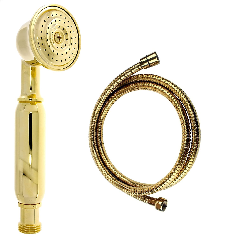 Nostalgie Retro Handbrause   Brause   Brausekopf   Duschkopf mit Brauseschlauch – aus Messing mit Gold Oberfläche