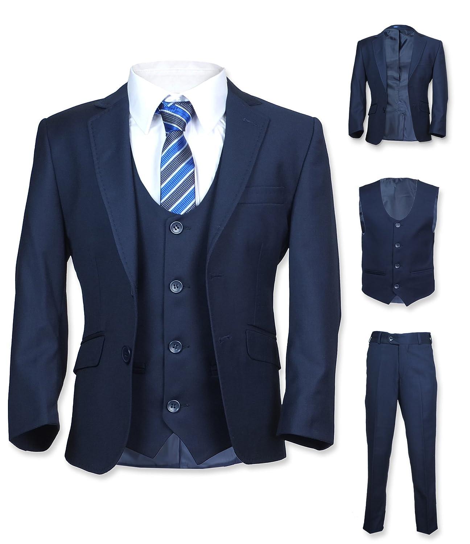 DR. JUNIOR 5 PC Slim Fit Navy Blue Viscose Boys Suit - Pageboy ...