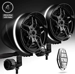 """GoHawk AR4-Halo LED 4"""" All-in-One Waterproof Bluetooth Motorcycle Stereo Speakers 7/8-1.25 in. Handlebar Mount MP3 Music Player Audio Amplifier System AUX USB for ATV RZR 4 Wheeler (AR4-Halo Black)"""