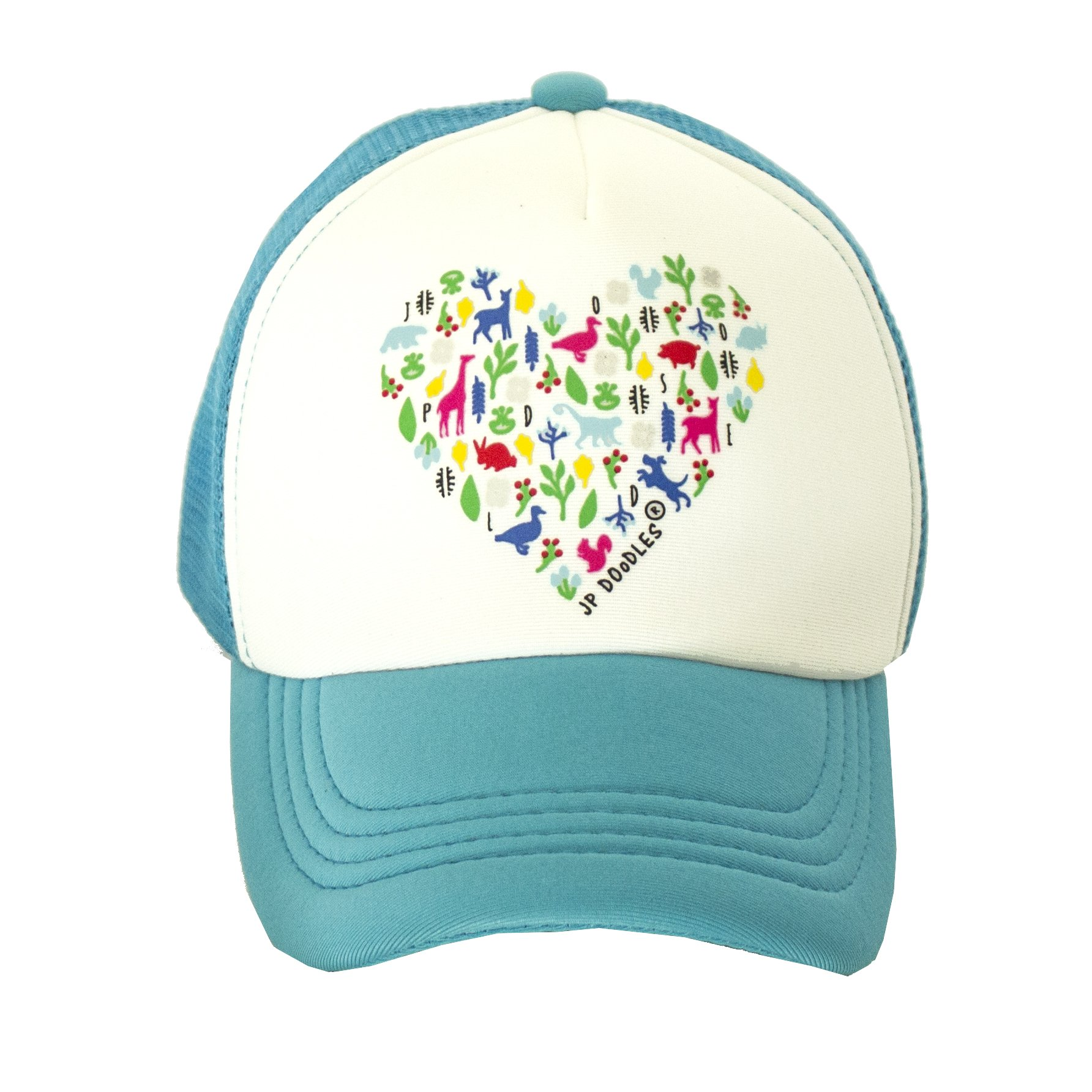 Heart on Kids Trucker Hat. The Kids Baseball Cap is Available in Baby, Toddler Adult Sizes. (Kiddo 2-5 Yrs, Teal)