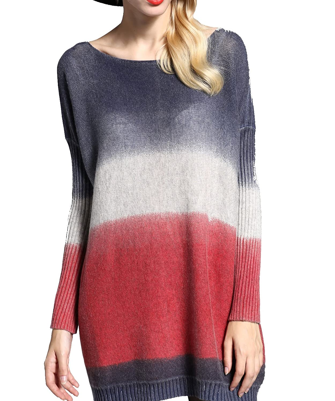 IGoblin Women's Ladies Long Sleeve Loose Printing Graffiti Knitting Sweater