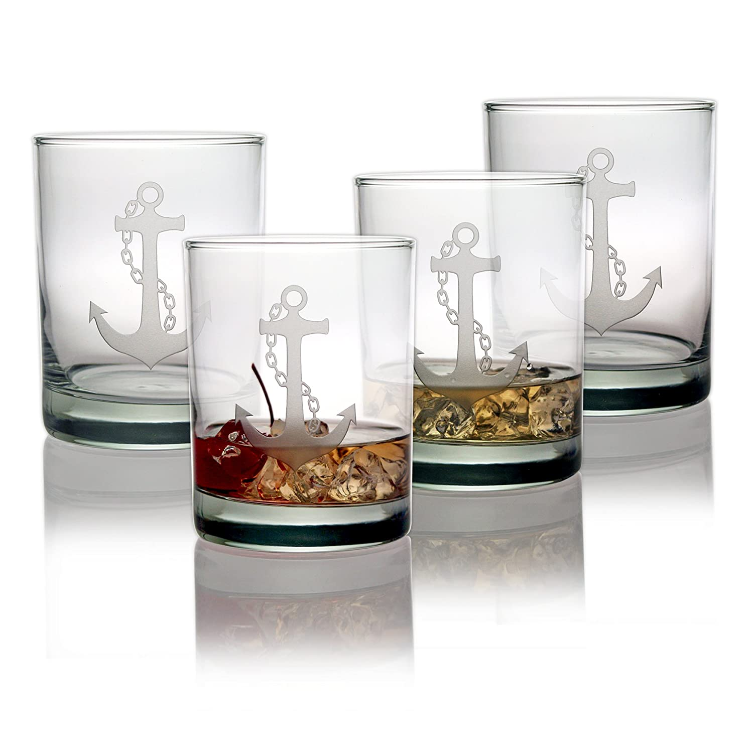 Nautical Anchor Sand Etched Rocks Glasses - Set of 4