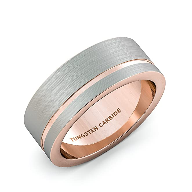 Mens Wedding Band 8mm White Brushed Tungsten Ring Thin Side Rose