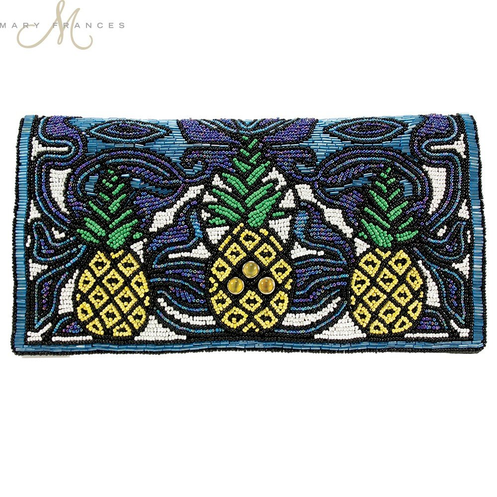 Mary Frances 'Pina Colada' Pineapple Beaded Clutch, Mutli