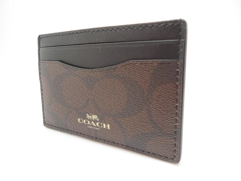 Amazon.com: Coach Signature PVC Card Case Brown Black F63279IMAA8 ...