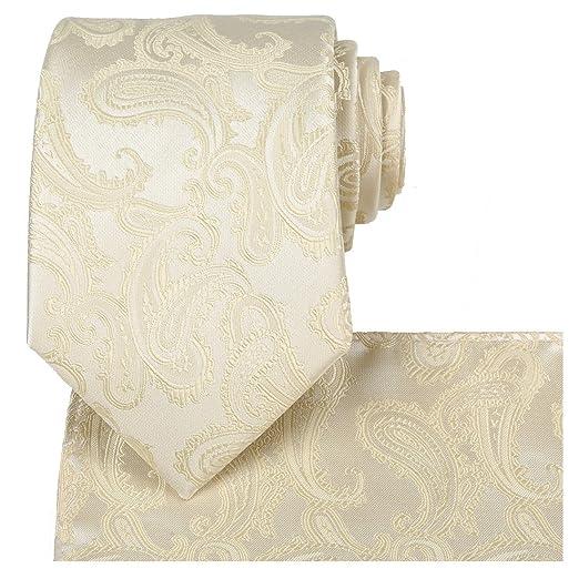 7a11abf9ea60 Fortunatever Men's Handmade Tie,Yellow Paisley Standard Necktie+Hanky+Gift  Box(Beige