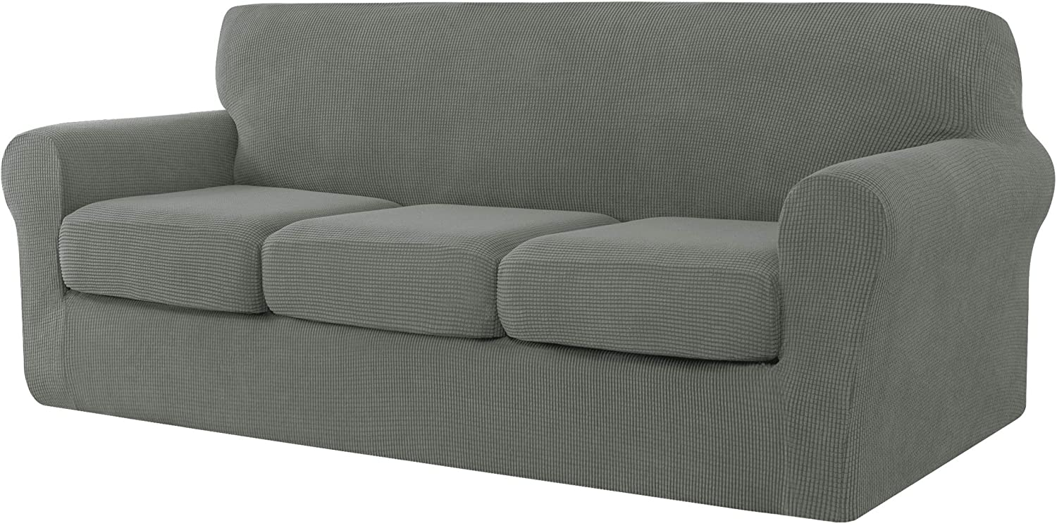 CHUN YI 4 Pieces Stretch Sofa Cover for Dogs, 3 Seater Couch Slipcover with 3 Separate Cushion Replacement Coat for Ektorp Universal Sleeper, Checks Spandex Jacquard Fabric, Large, Dove Gray