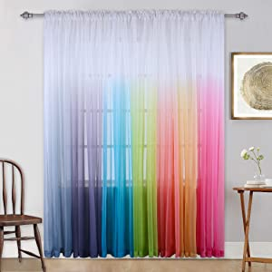 Gradient Curtains Light Purple Ombre Semi Sheer Curtain Girls Bedroom Curtain Panel Drapes Voiles for Windows/Living Room/Kids Room/Closet Set of 2 Panels 95 Inches Lavender
