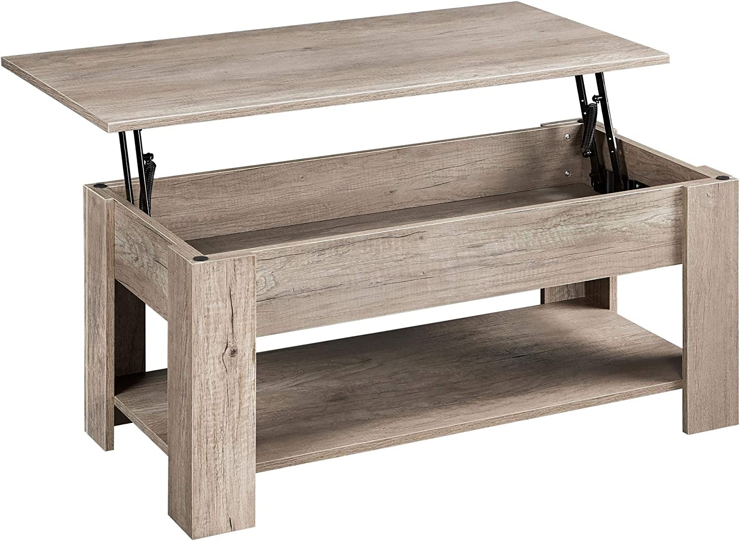 YAHEETECH Lift Top Coffee Table w/Hidden Compartment & Storage Rustic Coffee Table for Living Room Reception Room Office Gray