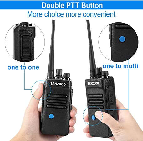 Bluetooth Two Way Radios Rechargeable, Long Range 2 Way Radio with Wireless Bluetooth Headset,Sanzuco Two-Way Radio for Security, Outdoor, Office, Hiking 2 Pack