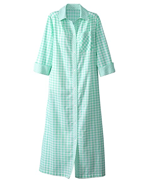 Amazon.com: Nacional Plisse cuadros snap-front Housecoat ...