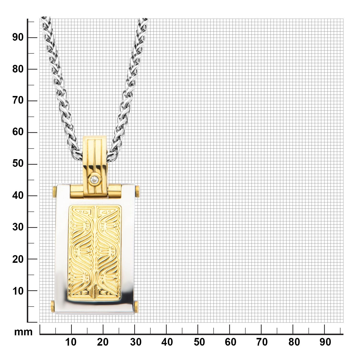 Hollis Bahringer Mens Stainless Steel Diamond Intricate Carved Gold IP Cross Pendant with Chain.