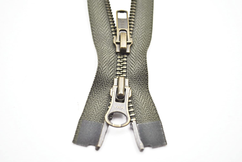 YKK Reißverschluss 2 Wege teilbar 5mm olivgrün 80 cm Metall Metallzähne