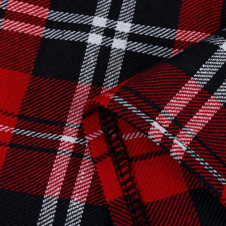 Challeng chicas escocesas a cuadros de Escocia Falda plisada de uniforme escolar Algod/ón Tart/án Faldas s, rojo