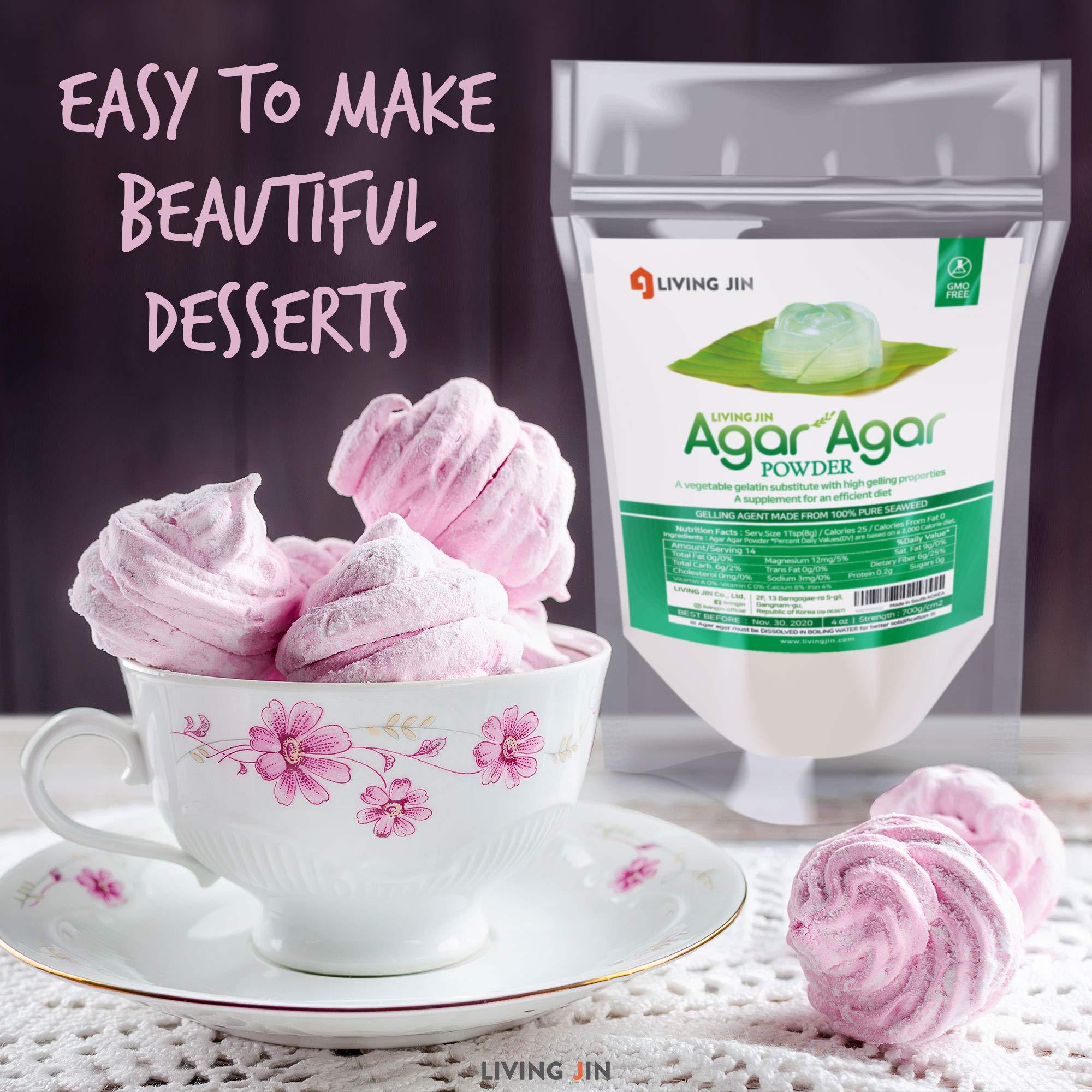 LIVING JIN Agar Agar Powder 28oz (or 4oz | 12oz) : Vegetable Gelatin Powder Dietary Fiber [100% Natural Seaweed + Non GMO + VEGAN + VEGETARIAN + KOSHER + HALAL] by LIVING JIN (Image #2)