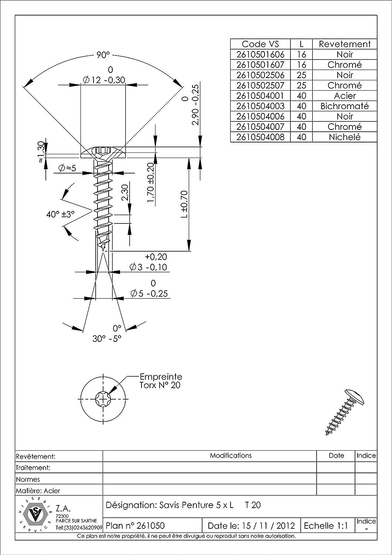 VBA//VIS POUR BOIS AGGLOMERE PENTURE 5X16 TORX T20 ACIER ZINGUE NOIR