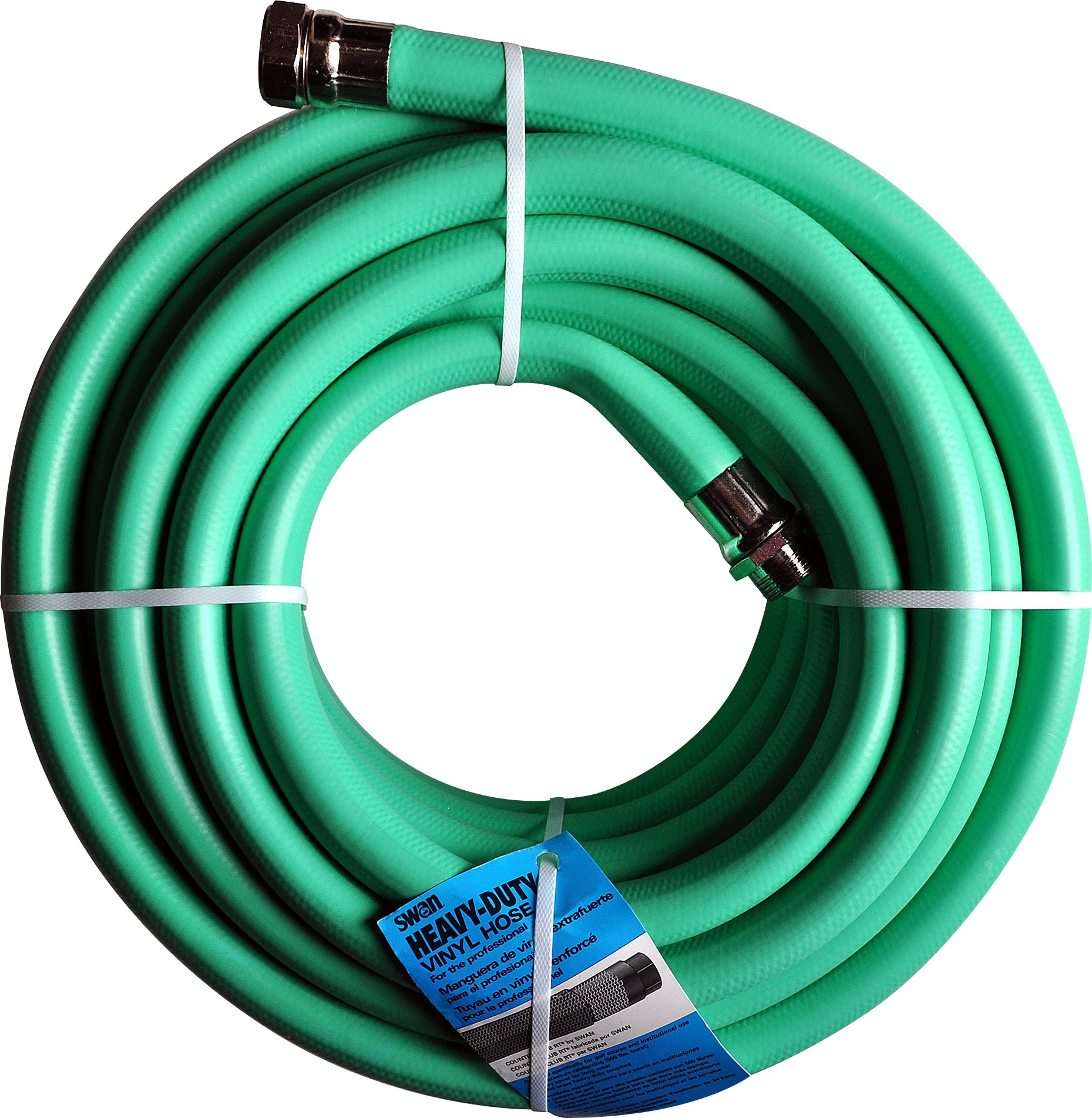 Swan Products SNCCC01050 Country Club Heavy Duty Water Hose with Crush Proof Couplings 50' x 1'', Green