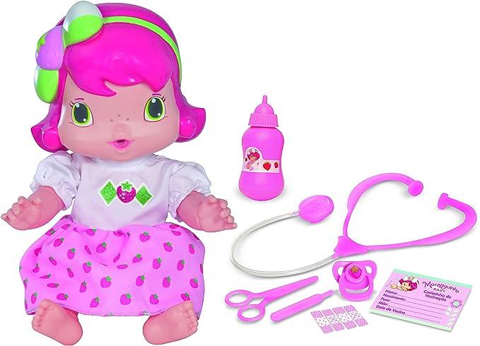 Baby De Vinil Moranguinho Faz Xixi Mimo Brinquedos Rosa