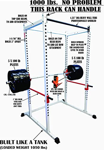 TDS Mega 1000 lb Rated White Power Squat Rack