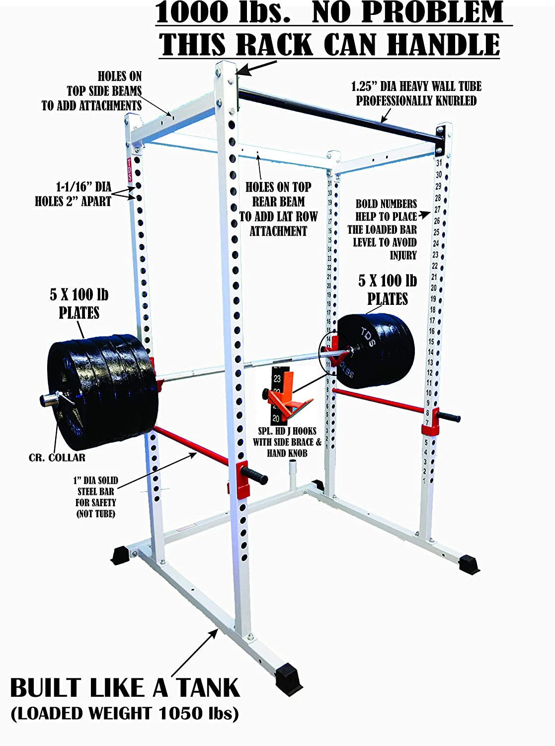 TDS Mega 1000 lb Rated Black Power Squat Rack, 1.25 Dia Professionally knurled Front Chinning Bar, Provision to add LAT Attachment, Pull up Chip up bar and More