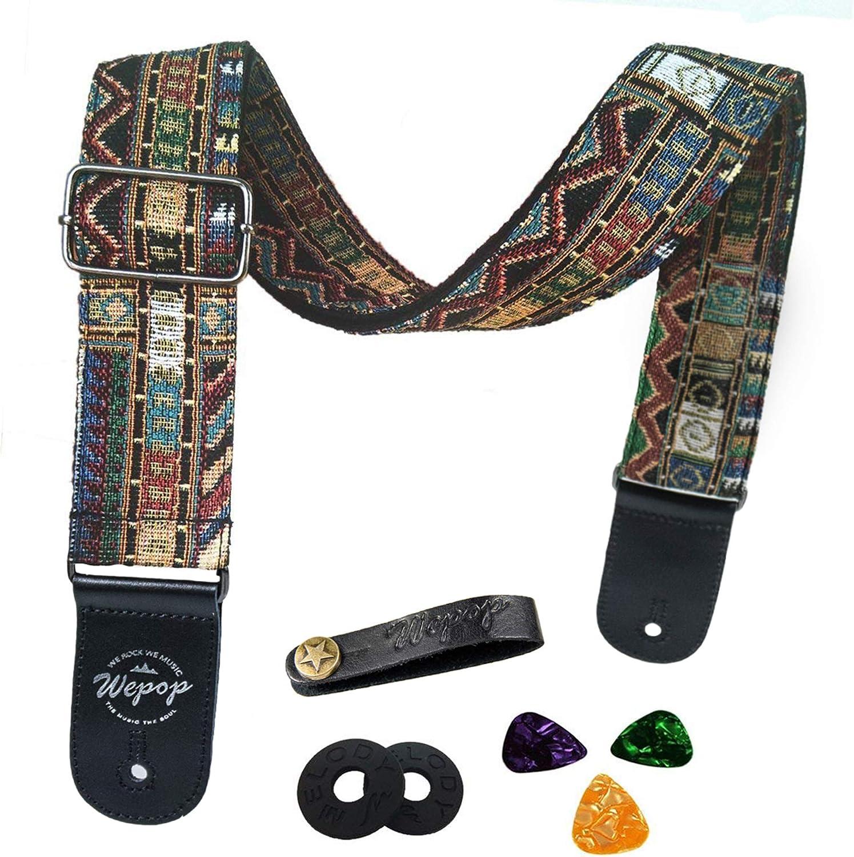 Correa de guitarra Vintage estilo tejida ajustable guitarra eléctrica acústica Bass Correa con extremos de cuero, Bundle para guitarra, Plectrums for guitar, Botón (Amarillo)