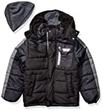 London Fog Boys' Little Color Blocked Puffer Jacket Coat with Hat,black Grey Hat,7