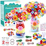 HULASO Crafts for Girls Ages 8-12 Make Your Own Flower Bouquet with Buttons and Felt Flowers, Vase Art and Craft for Children