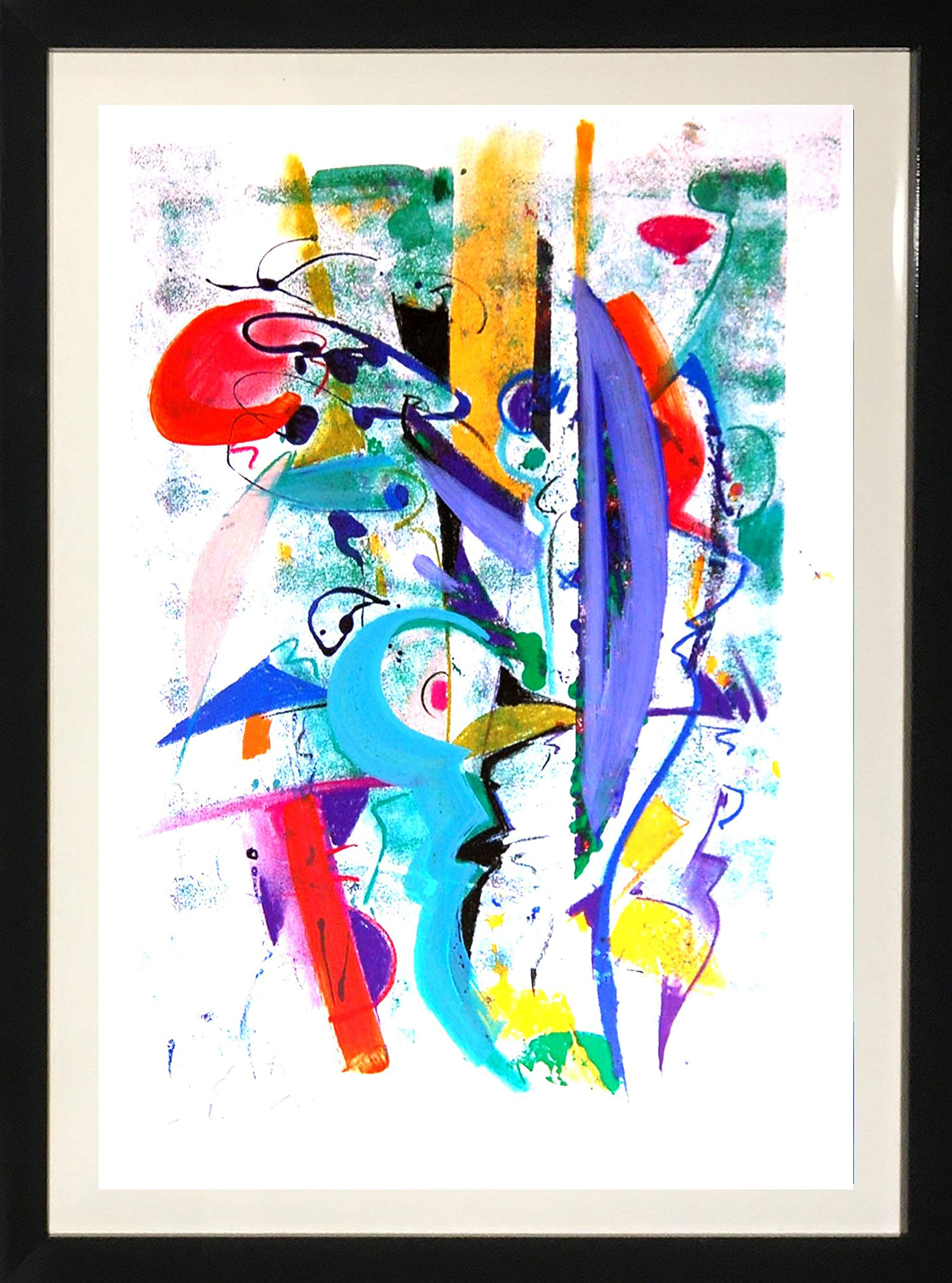 Alfred''Alex'' Gockel Framed Abstract Art Decorative Colorful by