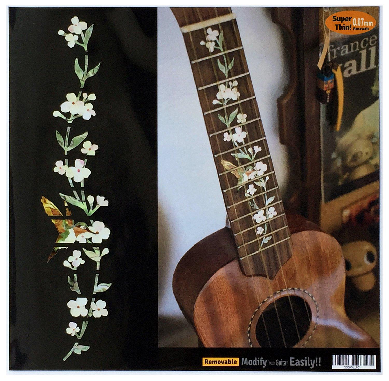 Ukulele - Soprano Fretboard Markers Inlay Sticker Decal Tree of Life w/Hummingbird jockomo UKF-260TH-S