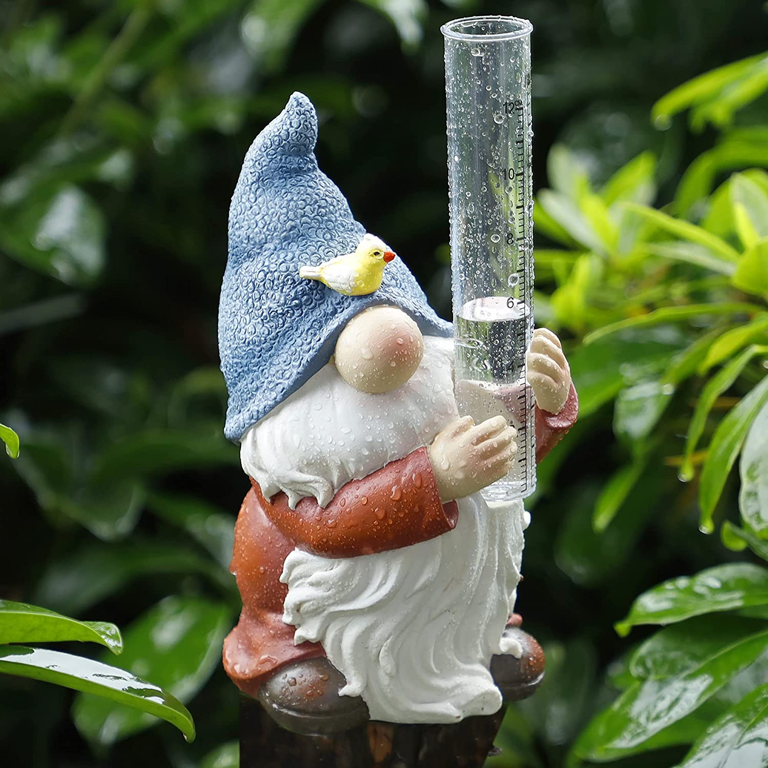 FORUP Resin Gnome Rain Gauges, Resin Gnome Garden Statue with a Plastic Rain Gauge, Hand Painted Gnome Sculpture Water Gauge for Rain