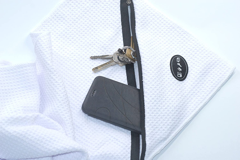 brolicsports di fitness asciugamano 30x 110cm–Extra Sottile–Piccolo Built-in tasche con zip–Ideale per il fitness studio o Spinning, rosa
