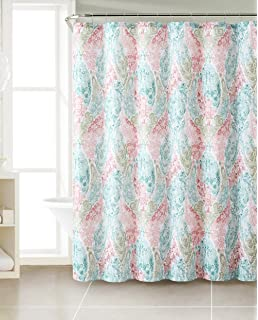 Amazon.com: Coral White Grey Fabric Shower Curtain: Ornate ...