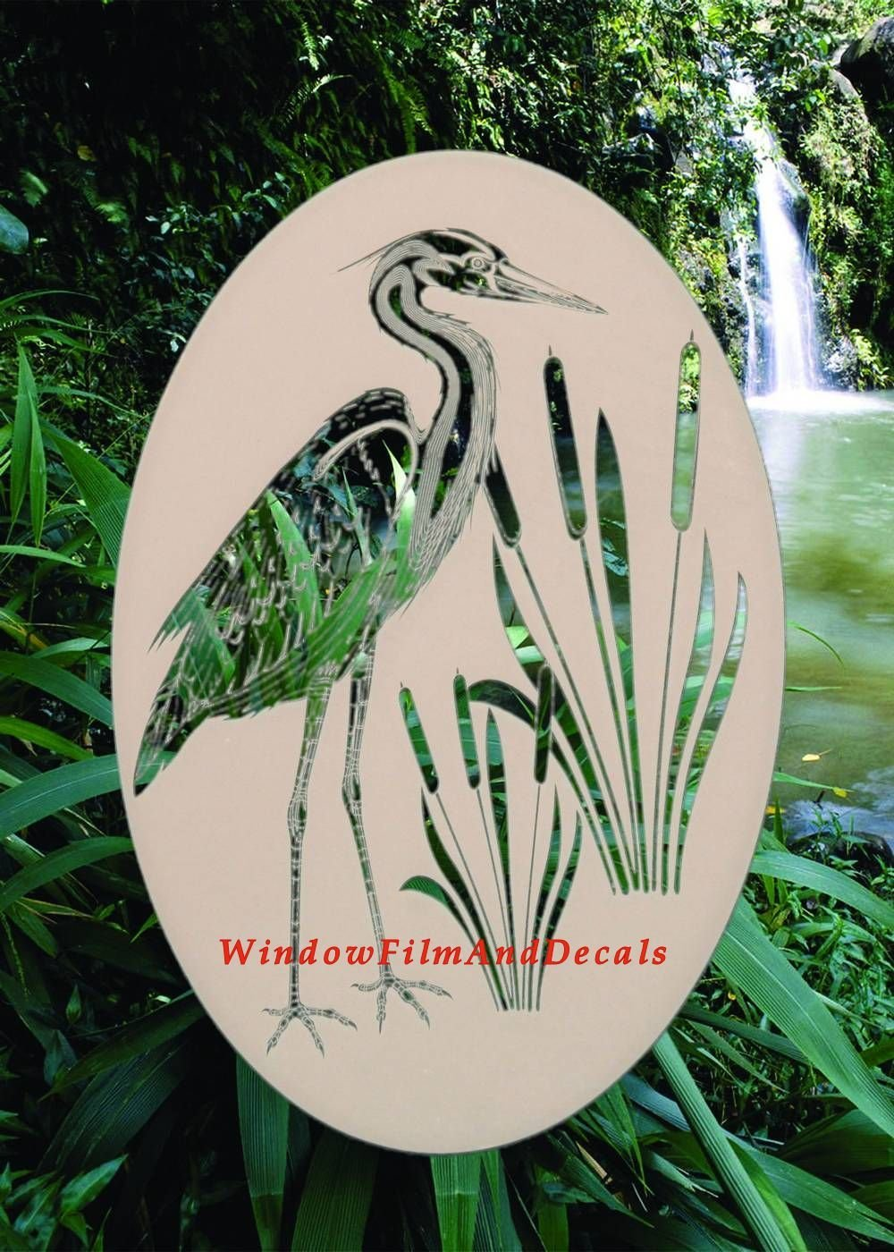 Oval Egret & Cattails Left Etched Window Decal Vinyl Glass Cling - 21'' x 33'' - White with Clear Design Elements by Vinyl Etchings