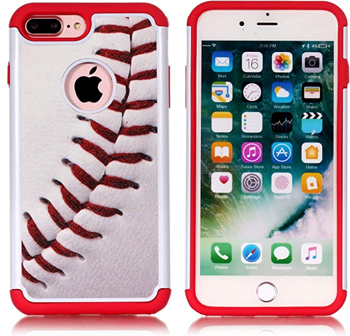 Sunshine - Tech iPhone 7 Plus Case, Baseball Sport Pattern Shock-Absorption Hard PC and Inner Silicone Hybrid Dual Layer Armor Defender Protective Case Cover for Apple iPhone 7 Plus iPhone 8 Plus
