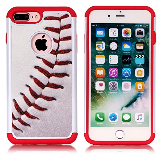 newest 5cc77 17b5e iPhone 7 Plus Case, Baseball Sport Pattern Shock-Absorption Hard PC and  Inner Silicone Hybrid Dual Layer Armor Defender Protective Case Cover for  ...