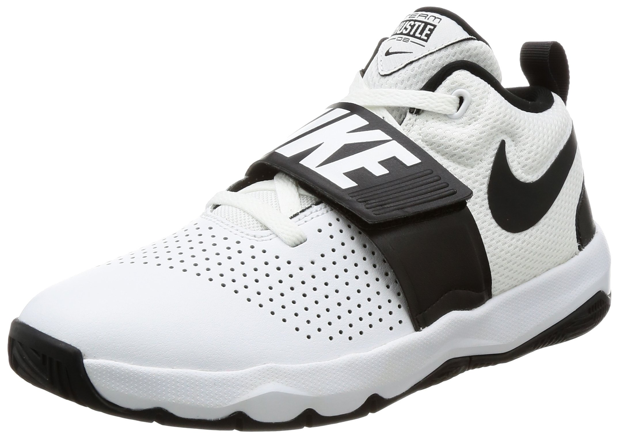Nike Boys' Team Hustle D 8 (GS) Basketball Shoe, White/Black, 6Y Regular US Big Kid